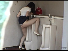Bad Hotties Are Pissing In Men's Room - Scene 6