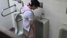 Bad Hotties Are Pissing In Men's Room - Scene 5