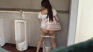 Bad Hotties Are Pissing In Men's Room - Scene 4